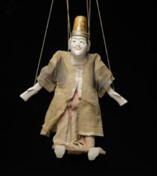 Burmese Marionette Of Male With White Face And Sand-colored Robe