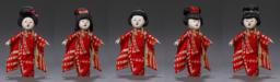 Figurine With Set Of Hair Dressings Of Japanese Women Artistically Arranged In Several Forms