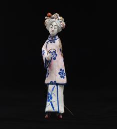Female Peking Opera Figurine In Pink And Blue With Elaborate Headdress