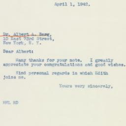 Letter: 1942 April 1