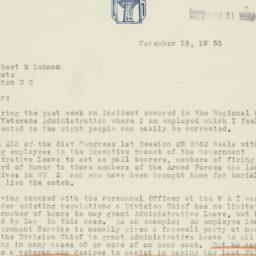 Letter: 1953 November 18
