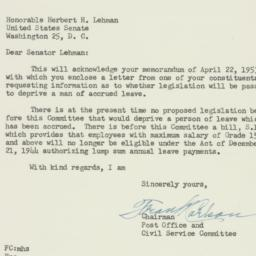 Letter: 1953 May 1