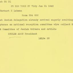 Telegram: 1943 June 21