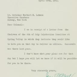 Letter: 1931 April 29