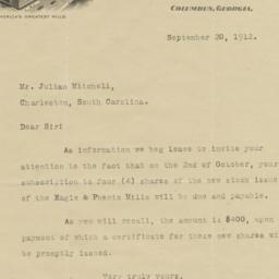 Eagle & Phenix Mills. Letter