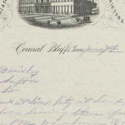 Union Pacific Hotel. Letter