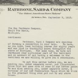 Rathbone, Sard & Co.. Letter