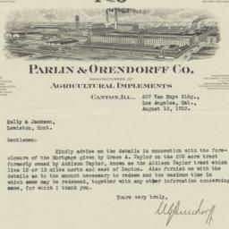 Parlin & Orendorff Co.. Letter
