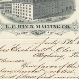 L. C. Huck Malting Co.. Letter