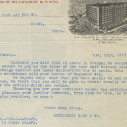 Montgomery Ward. Letter