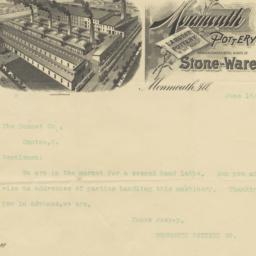 Monmouth Pottery Co.. Letter