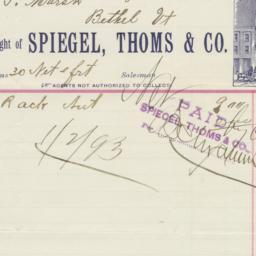 Spiegel, Thoms & Co.. Bill