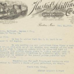 Husted Milling Co.. Letter