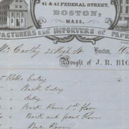 J. R. Bigelow & Co.. Bill