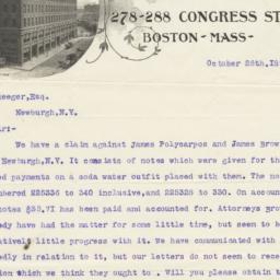 James W. Tufts. Letter