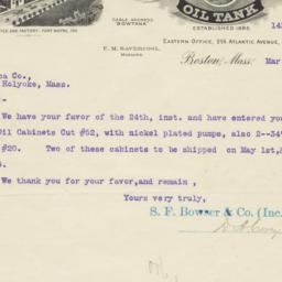 S.F. Bowser & Co.. Letter