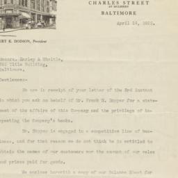 Hopper, McGaw & Co.. Letter