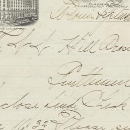 Hotel Jefferson. Letter