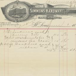 Simmons Hardware Company. Bill