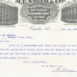 M. E. Smith & Co.. Letter