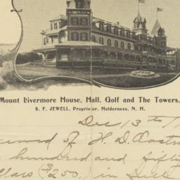 Mount Livermore House. Letter
