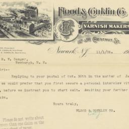 Flood & Conklin Co.. Letter