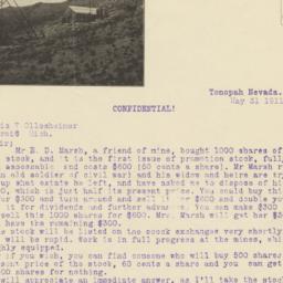 Buckeye Mines. Letter