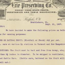 Erie Preserving Co.. Letter