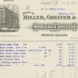 Miller, Greiner & Co.. Bill