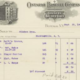 Ontario Biscuit Company. Bill
