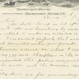 Manhanset House. Letter