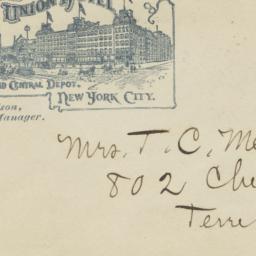 Grand Union Hotel. Envelope