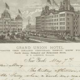 Grand Union Hotel. Letter