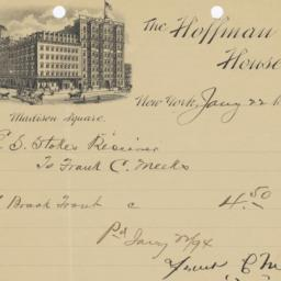Hoffman House. Letter