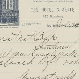 Hotel Gazette. Letter