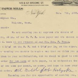 Wilkinson Bros. & Co.. Letter