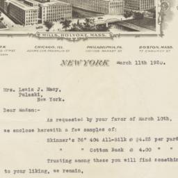 William Skinner & Sons. Letter