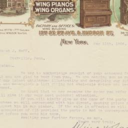 Wing & Son. Letter