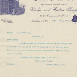 Frankel Bros. & Co.. Letter