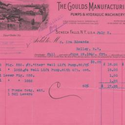 Goulds Manufacturing Co.. Bill