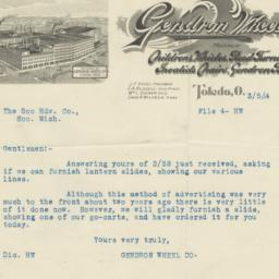 Gendron Wheel Co.. Letter
