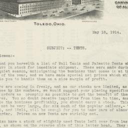 Hettrick Bros. Company. Letter