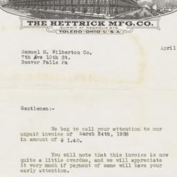 Hettrick Mfg. Co.. Letter