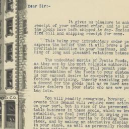 Pratt Food Company. Letter