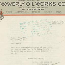 Waverly Oil Works Co.. Letter