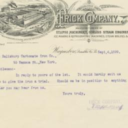 Frick Company. Letter