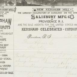 Salisbury Mfg. Co.. Letter