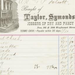 Taylor, Symonds & Co.. Bill