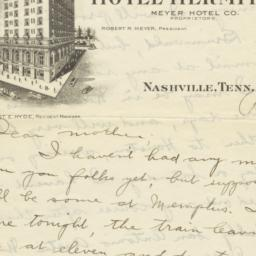 Hotel Hermitage. Letter
