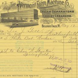 Vermont Farm Machine Co.. Bill